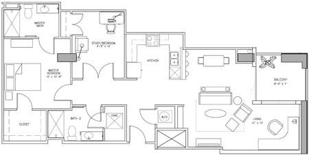 1,194 sq. ft. V floor plan