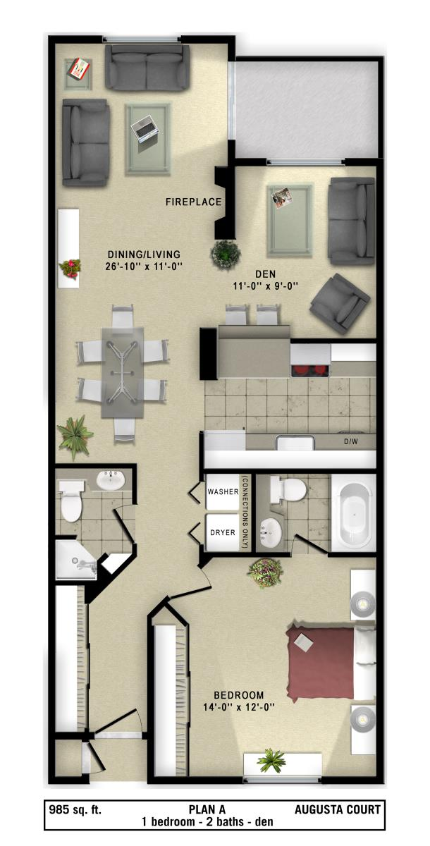 985 sq. ft. A floor plan