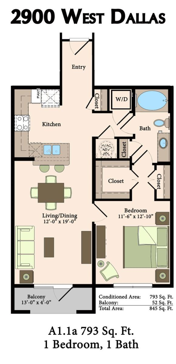 793 sq. ft. A1.1A floor plan