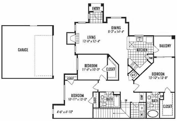 1,550 sq. ft. C3 floor plan