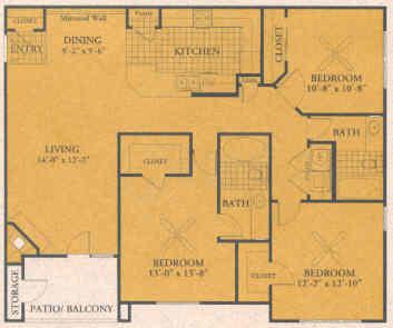 1,325 sq. ft. C1 floor plan