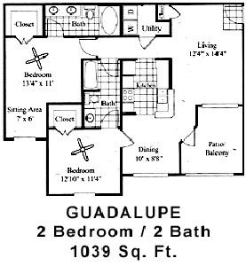 1,039 sq. ft. Guadalupe floor plan