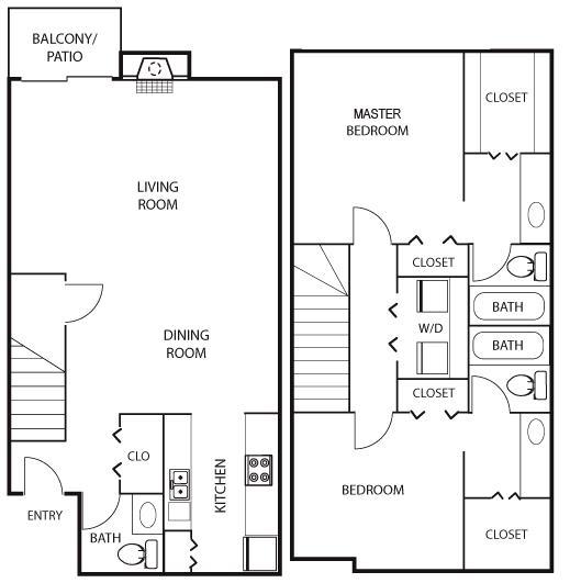 1,254 sq. ft. B2 floor plan