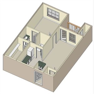 662 sq. ft. 50% floor plan