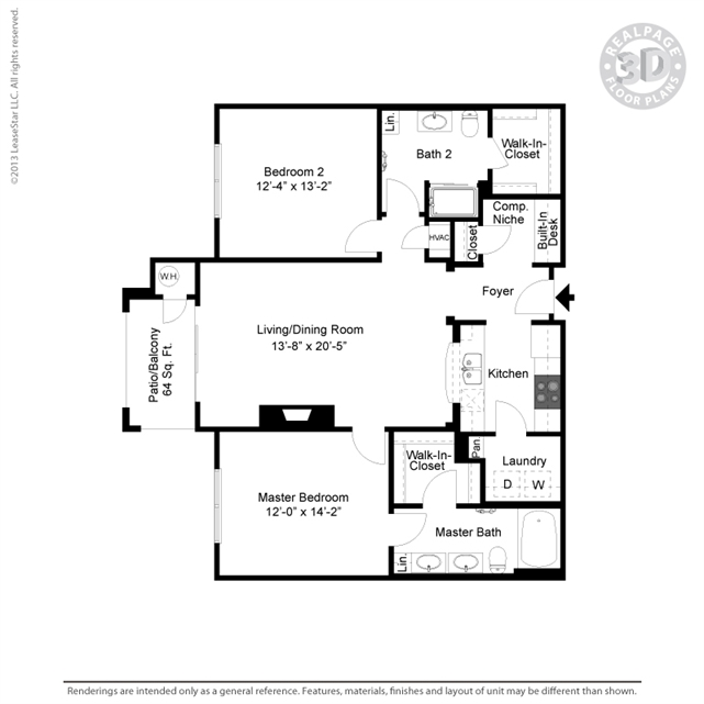 1,163 sq. ft. B6Gar floor plan