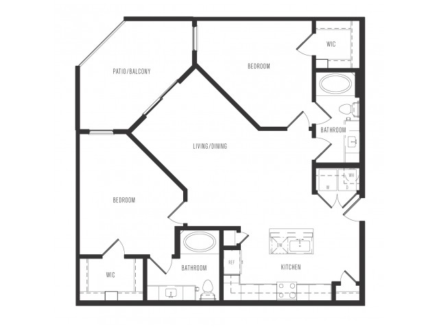 1,121 sq. ft. B2 floor plan
