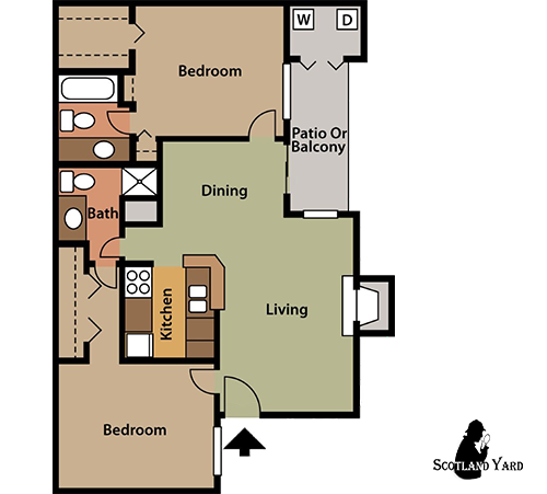 892 sq. ft. B3 floor plan
