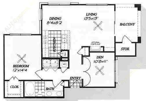 874 sq. ft. A4 floor plan