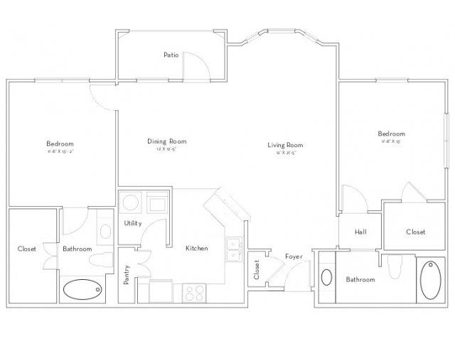 1,213 sq. ft. Cambridge floor plan