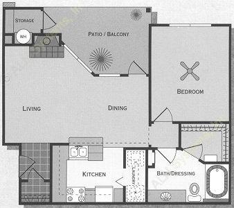 735 sq. ft. Brazos/A2 floor plan