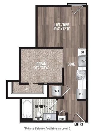 507 sq. ft. A0.5 floor plan
