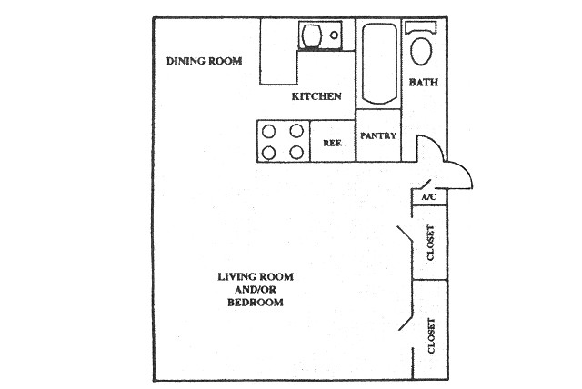 500 sq. ft. floor plan
