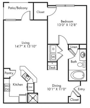 890 sq. ft. A1 floor plan