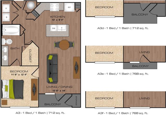 712 sq. ft. to 768 sq. ft. A3 floor plan