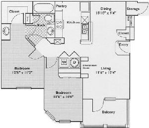 970 sq. ft. Juniper floor plan