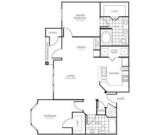 1,151 sq. ft. G2 floor plan