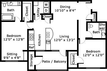 1,152 sq. ft. B2/Barcelona floor plan
