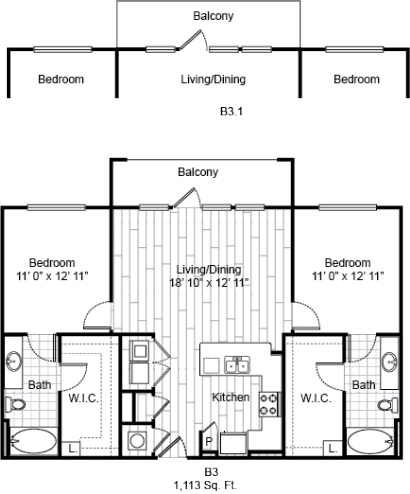 1,113 sq. ft. B3 floor plan