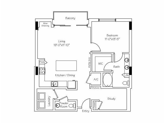 1,079 sq. ft. A10 floor plan
