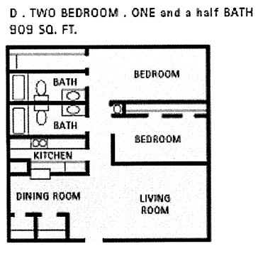 909 sq. ft. D floor plan