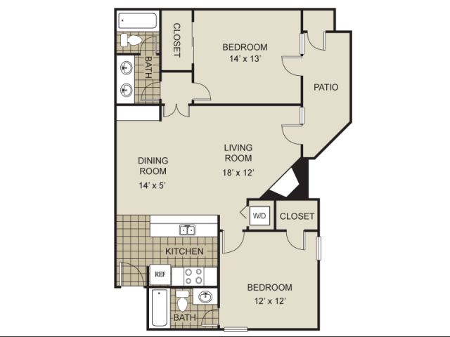 940 sq. ft. B1-B floor plan