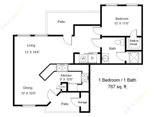 767 sq. ft. A1-60 floor plan