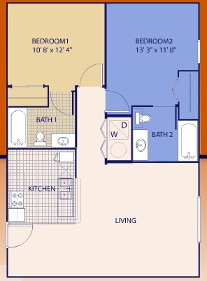 894 sq. ft. Twosome floor plan