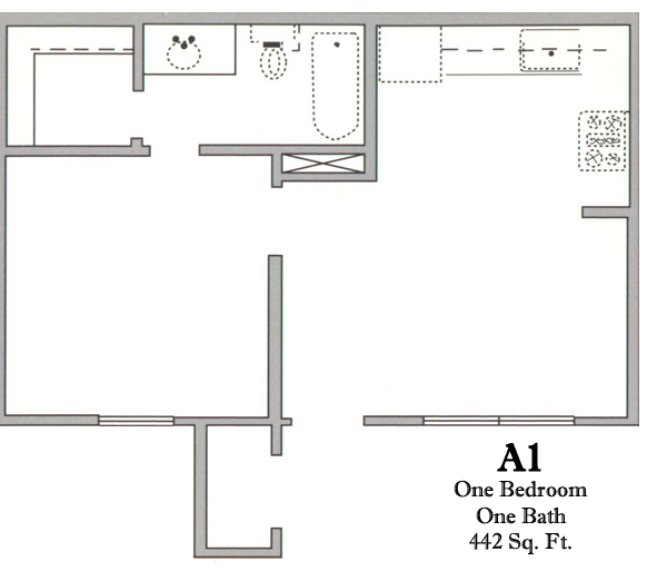 442 sq. ft. A/30% floor plan