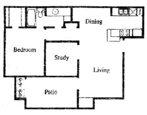 735 sq. ft. EF floor plan