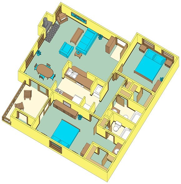 998 sq. ft. E floor plan