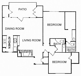 1,026 sq. ft. B23 floor plan
