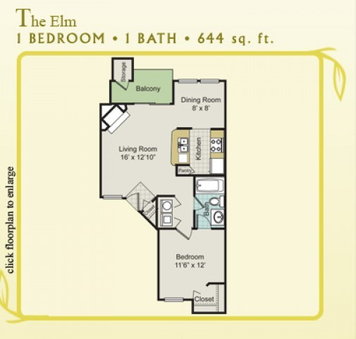 644 sq. ft. Elm floor plan