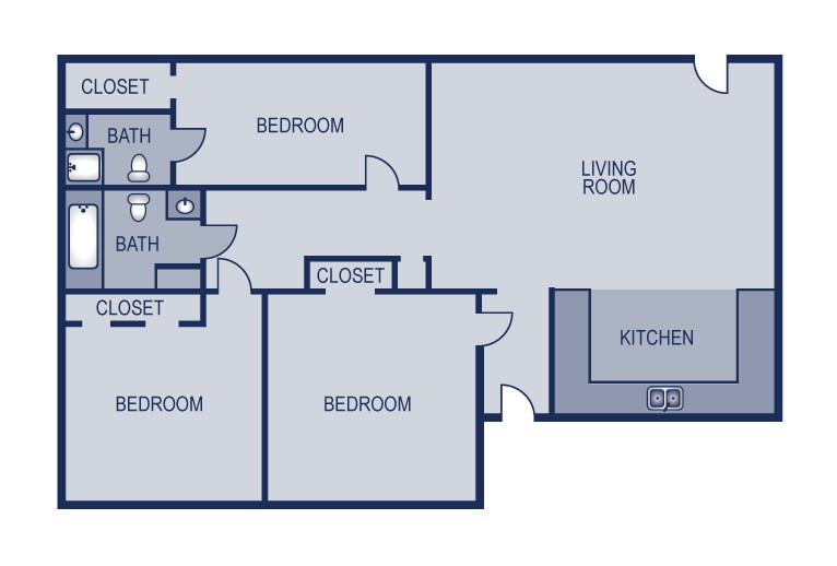 1,138 sq. ft. 3/2 floor plan