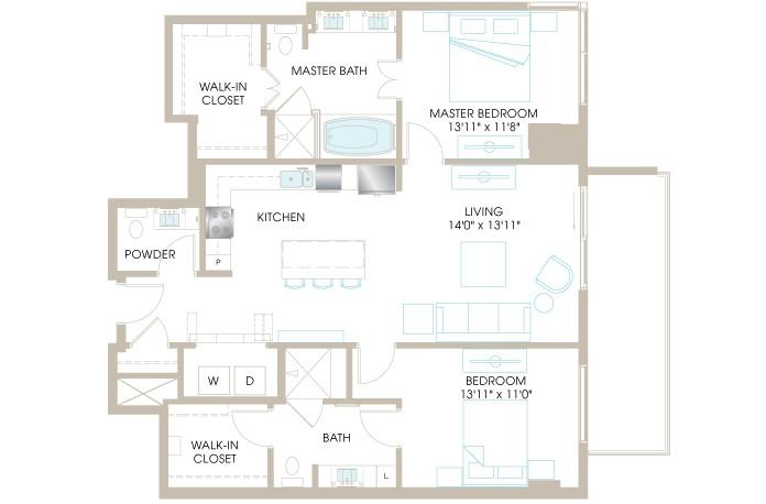 1,326 sq. ft. C7a floor plan