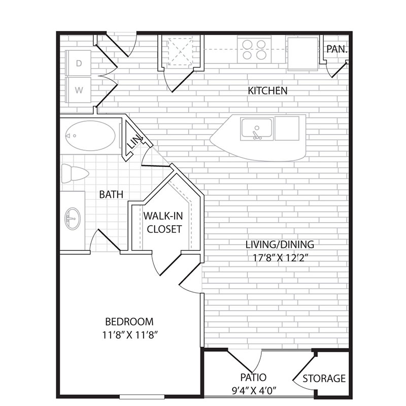 821 sq. ft. to 864 sq. ft. A3 floor plan