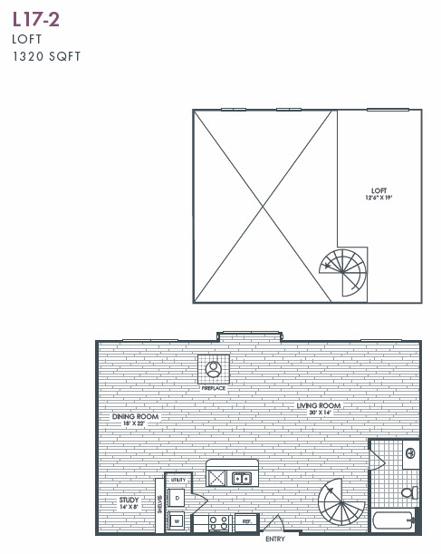1,320 sq. ft. L17-2 floor plan