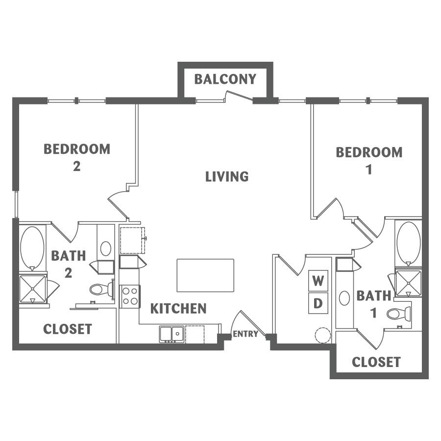 1,224 sq. ft. B7 floor plan