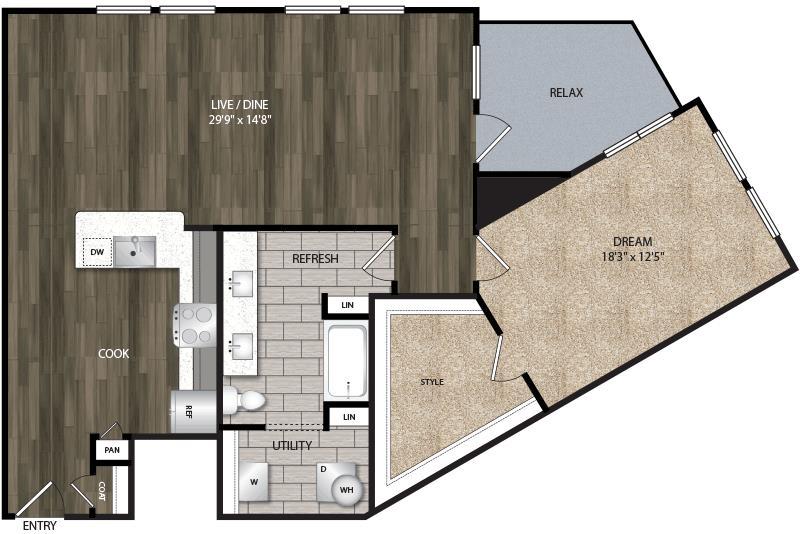 1,162 sq. ft. A9 floor plan