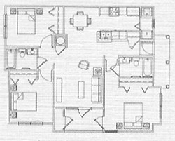 1,070 sq. ft. 60% floor plan