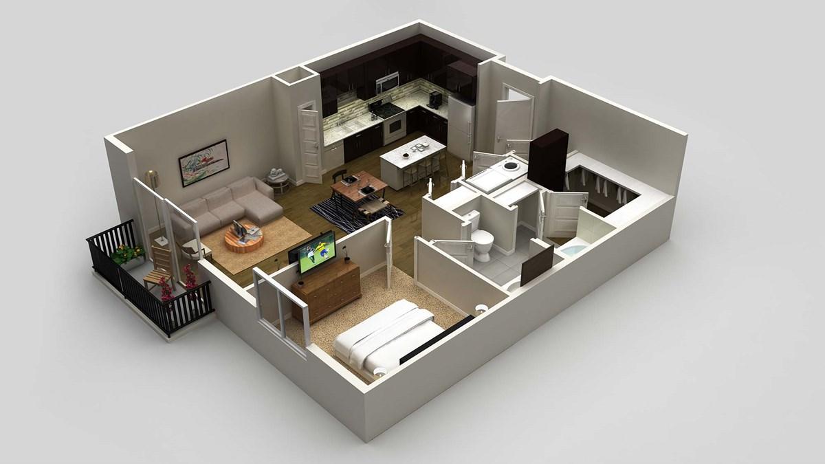 883 sq. ft. floor plan
