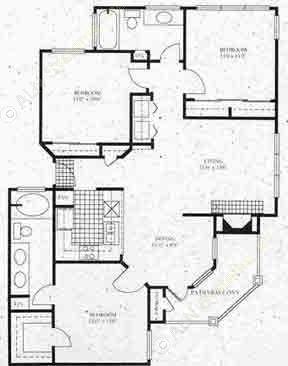 1,170 sq. ft. C1 floor plan
