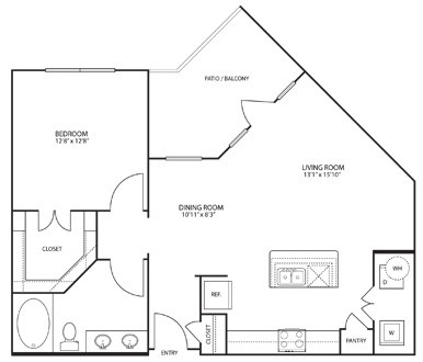 808 sq. ft. to 871 sq. ft. A3 floor plan