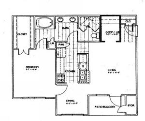 810 sq. ft. A2 floor plan