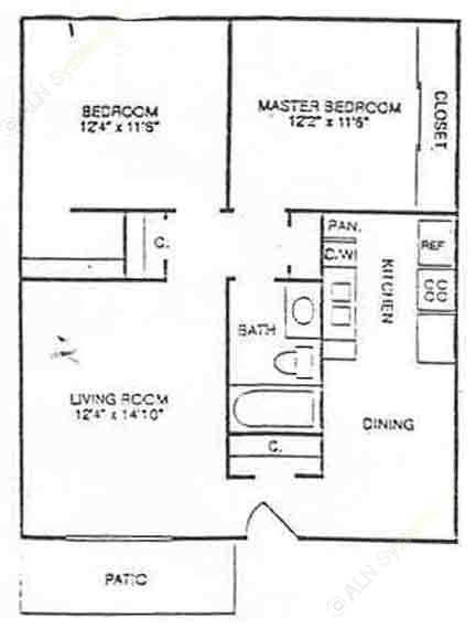 790 sq. ft. B1 floor plan