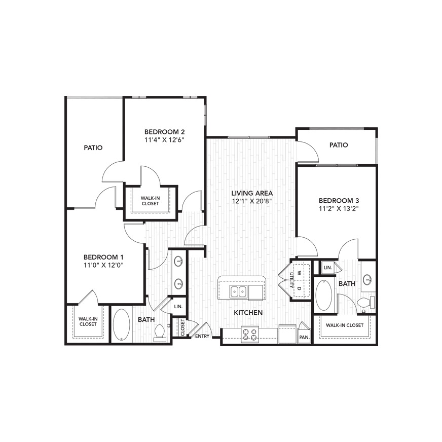 1,286 sq. ft. C1 floor plan