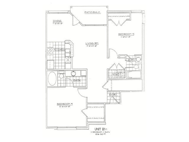 1,026 sq. ft. B1N floor plan