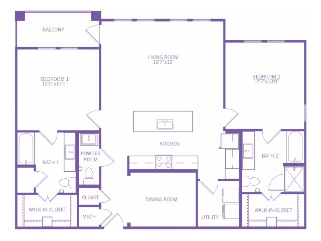 1,376 sq. ft. B8 floor plan