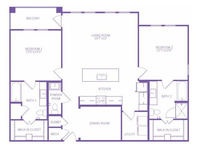 1,376 sq. ft. B8 floor plan