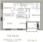 851 sq. ft. DOVER floor plan