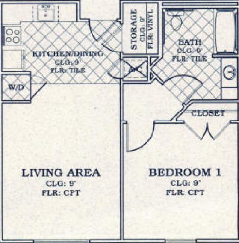 676 sq. ft. 30% floor plan